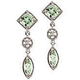 14K White Gold Green Amethyst and Diamonds Dangling Earrings