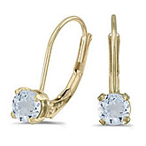 14k Yellow Gold Round Aquamarine Lever-back Earrings
