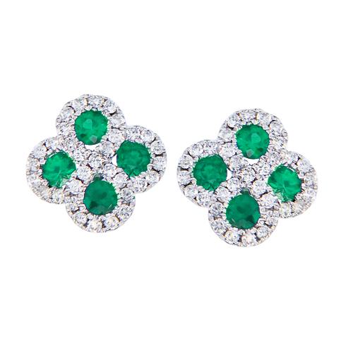 14k White Gold Emerald and .26 ct Diamond Clover Earrings