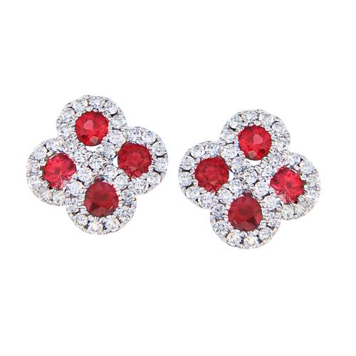 14k White Gold Ruby and .26 ct Diamond Clover Earrings