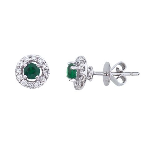 14k White Gold 5mm Round Emerald and Diamond Earrings