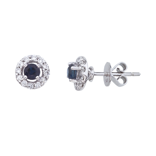 14k White Gold 5mm Round Sapphire and Diamond Earrings