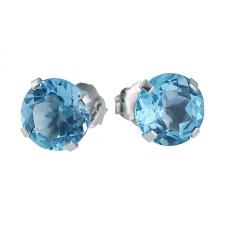 14k White Gold 6mm Round Blue Topaz Stud Earrings (2.00 ct)