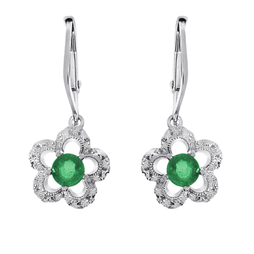 14k White Gold Emerald and Diamond Flower Leverback Earrings