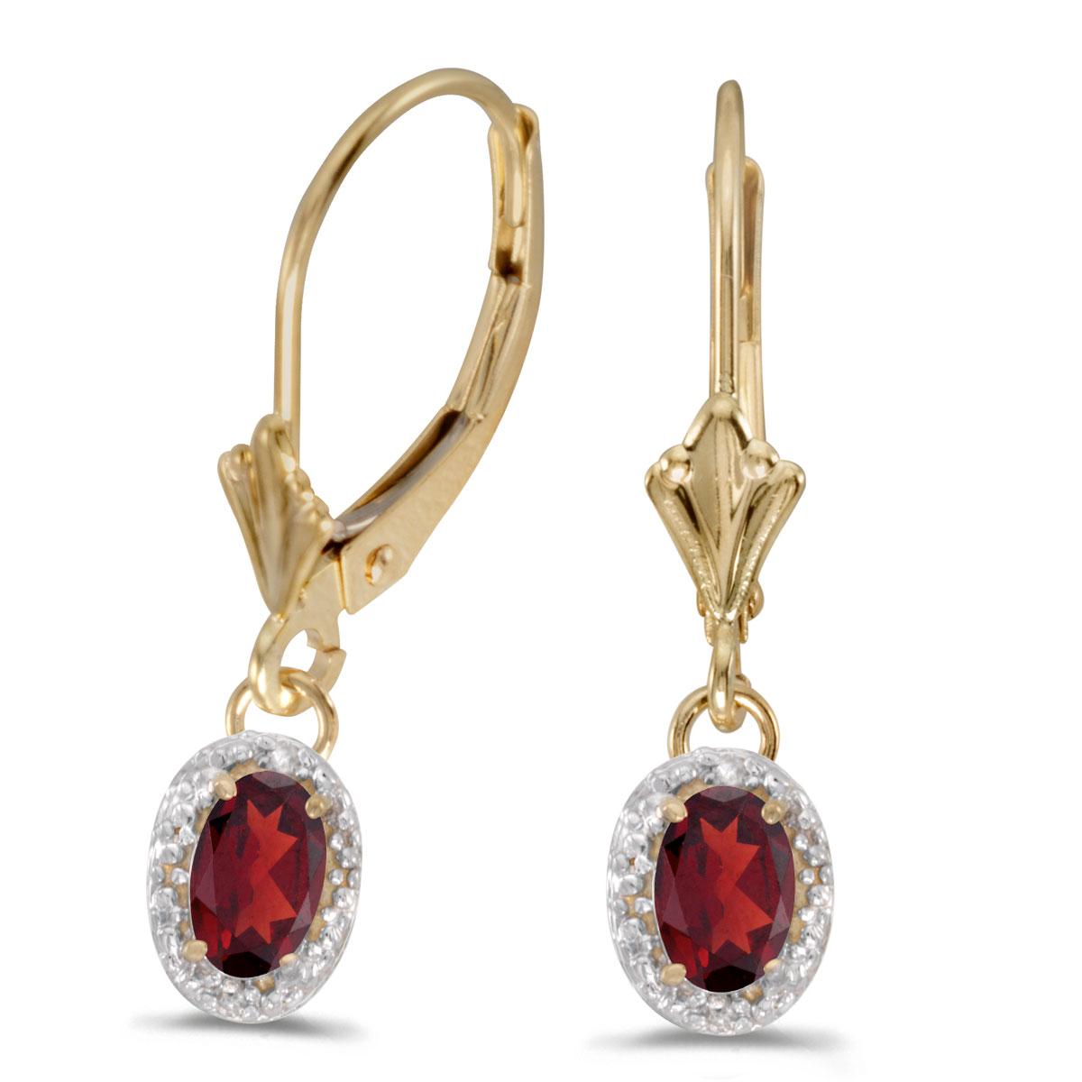 14k Yellow Gold Oval Garnet And Diamond Leverback Earrings