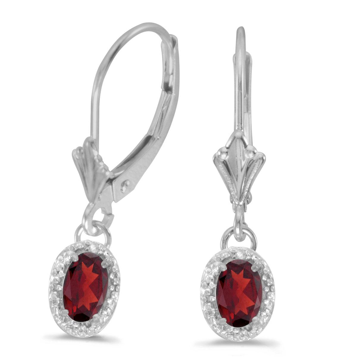 14k White Gold Oval Garnet And Diamond Leverback Earrings