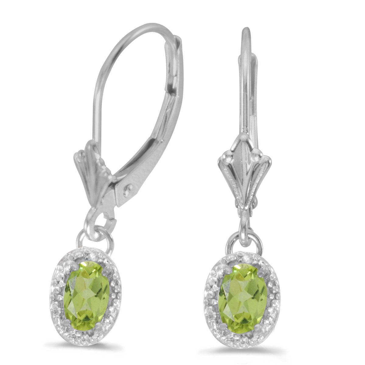 14k White Gold Oval Peridot And Diamond Leverback Earrings