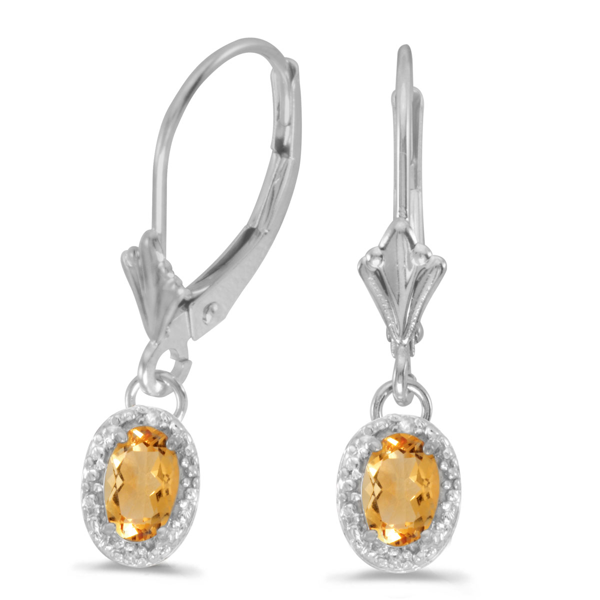 14k White Gold Oval Citrine And Diamond Leverback Earrings