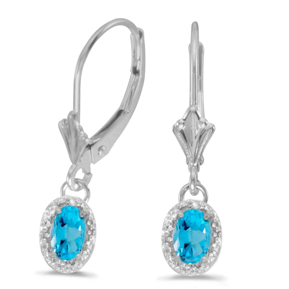 14k White Gold Oval Blue Topaz And Diamond Leverback Earrings