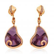 Rose Gold Pear Amethyst Earrings
