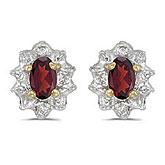 10k Yellow Gold Oval Garnet And Diamond Earrings