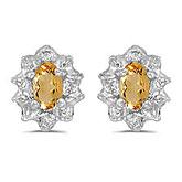 10k White Gold Oval Citrine And Diamond Earrings
