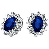 14K White Gold Precious Oval Sapphire and Diamond Earrings