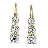 14k Yellow Gold 0.50 Ct Three Stone Lever-back Diamond Earrings