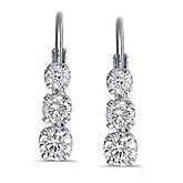 14k White Gold 0.50 Ct Three Stone Lever-back Diamond Earrings