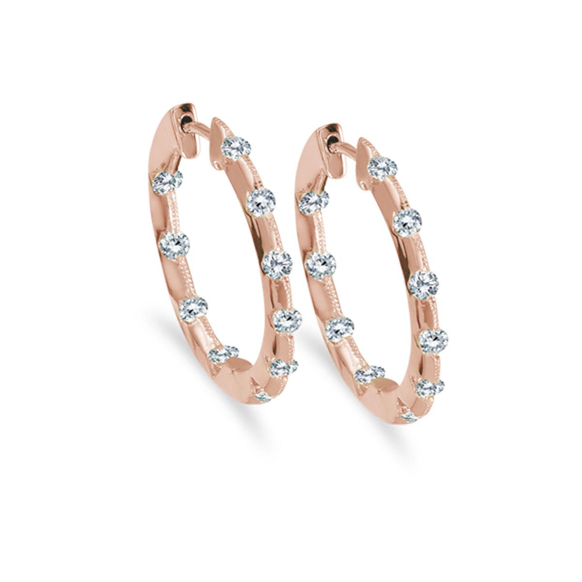 14k Rose Gold .50 Ct Diamond Inside Outside Hoop Earrings