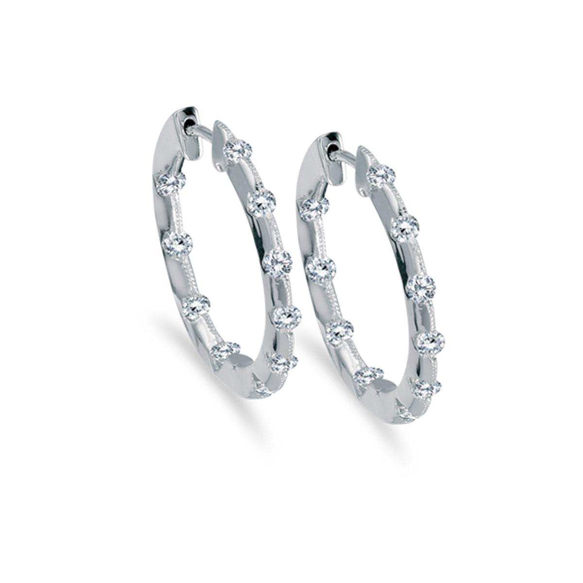14k White Gold .50 Ct Diamond Inside Outside Hoop Earrings