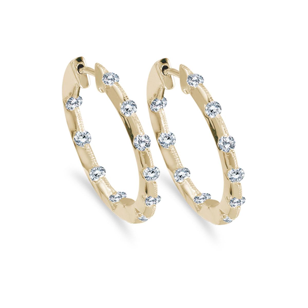 14k Yellow Gold 1.00 Ct Diamond Inside Outside Hoop Earrings