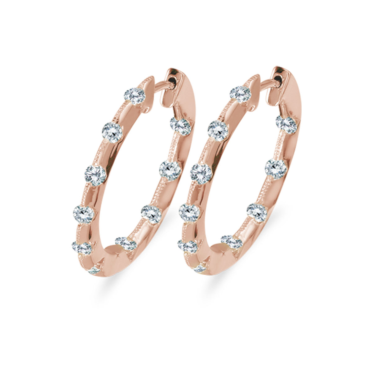 14k Rose Gold 1.00 Ct Diamond Inside Outside Hoop Earrings