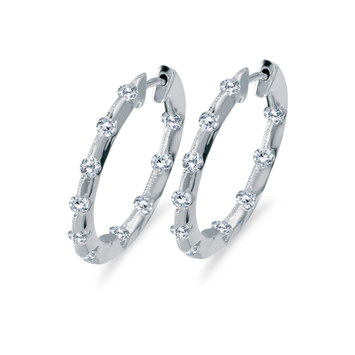 14k White Gold 1.00 Ct Diamond Inside Outside Hoop Earrings