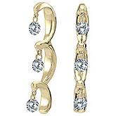 14K Yellow Gold .50 ct Dashing Diamonds Earrings