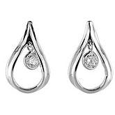 14K White Gold Diamond Dashing Diamonds Earrings