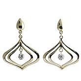14K Yellow Gold Diamond Dashing Diamonds Earrings