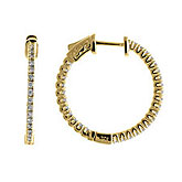 14K .60ct Yellow Gold Diamond Secure Lock 25 mm Hoop Earrings