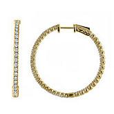 14K 3ct Yellow Gold Diamond Secure Lock 35 mm Hoop Earrings