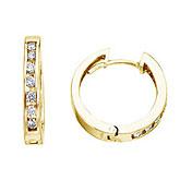 14K Yellow Gold 0.54 Ct Diamond Hoop Earrings