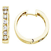 14K Yellow Gold 1 Ct Diamond Hoop Earrings