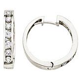 14K White Gold 1 Ct Diamond Hoop Earrings
