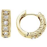 14K Yellow Gold 0.42 Ct Round and Princess Diamond Earrings