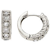 14K White Gold 0.42 Ct Round and Princess Diamond Earrings