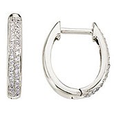 14K White Gold Pave 0.25 Ct Diamond Hoop Earrings