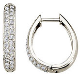 14K White Gold Pave 0.75 Ct Diamond Hoop Earrings