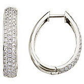 14K White Gold Pave 1 Ct Diamond Hoop Earrings
