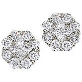 14K White Gold 0.50 Ct Diamond Clustaire Earrings