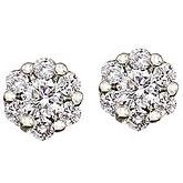14K White Gold .50 Ct Cluster Diamond Earrings