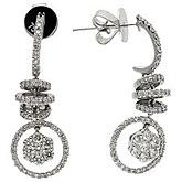 14K White Gold Fancy Corkscrew Diamond Earrings
