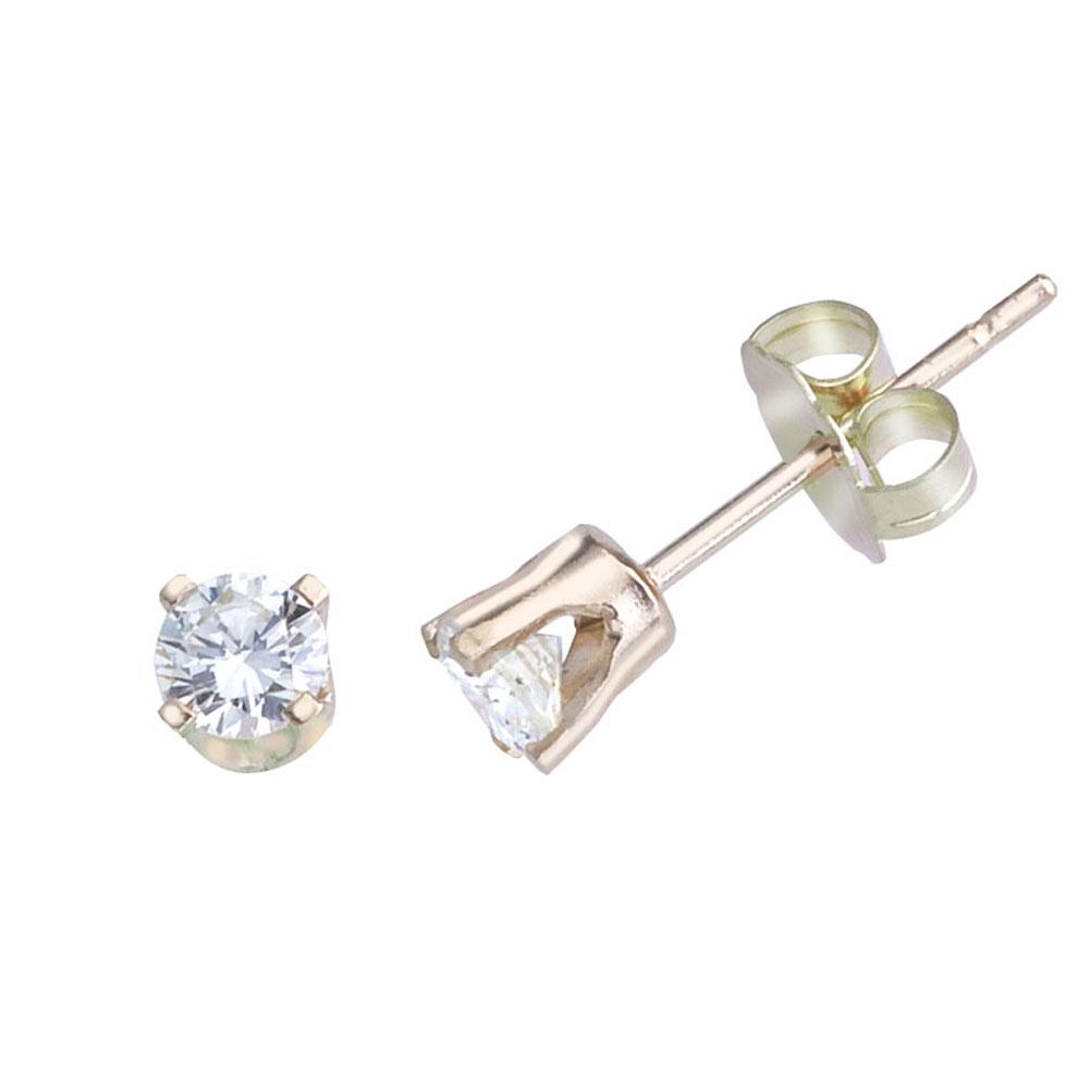 14k Yellow Gold 0.33 Ct Diamond Stud Earrings