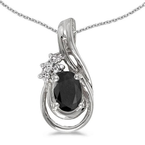 14k White Gold Oval Onyx And Diamond Teardrop Pendant