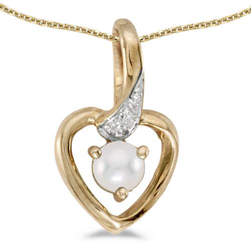 10k Yellow Gold Pearl And Diamond Heart Pendant