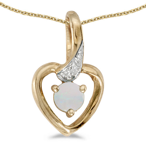10k Yellow Gold Round Opal And Diamond Heart Pendant