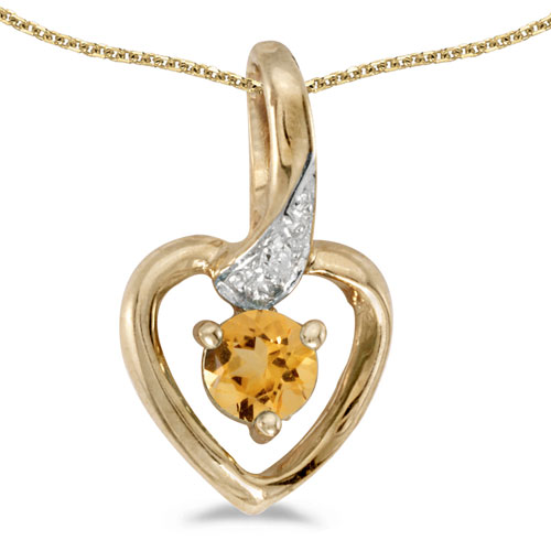 10k Yellow Gold Round Citrine And Diamond Heart Pendant