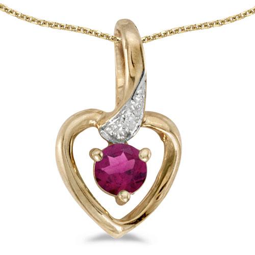 10k Yellow Gold Round Rhodolite Garnet And Diamond Heart Pendant