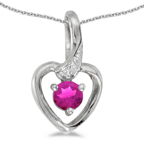 10k White Gold Round Pink Topaz And Diamond Heart Pendant