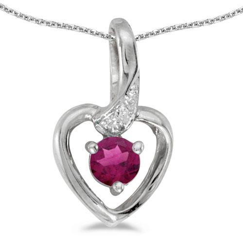 10k White Gold Round Rhodolite Garnet And Diamond Heart Pendant