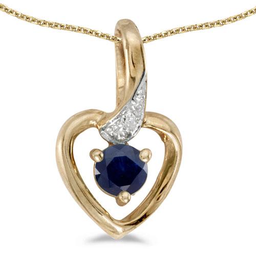 14k Yellow Gold Round Garnet And Diamond Heart Pendant