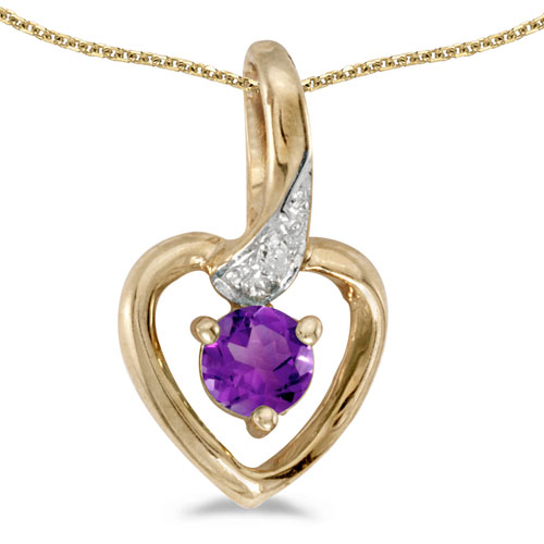 14k Yellow Gold Round Amethyst And Diamond Heart Pendant